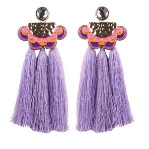 Purple Pink Enamel Long Drop Boho Tassel Earrings